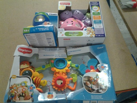 Lot 366 3 ASSORTED PRODUCTS TO INCLUDE; TINY LOVE MY NATURE PALS STROLL, TOMY FOUNTAIN ROCKET AND LAUGH AND LEARN SMART STAGES TEA SET