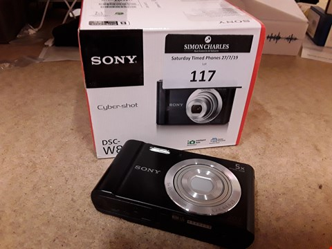 Lot 117 BOXED SONY CYBERSHOT W800 20.1MP CAMERA BLACK WITH CHARGER
