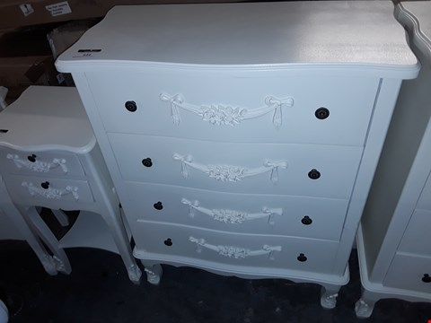 Lot 616 4 DRAWER FRENCH STYLE DRESSER - WHITE