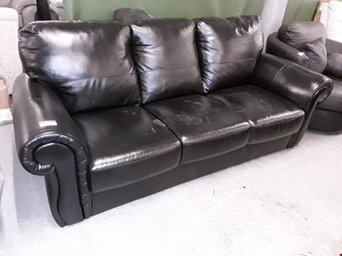 Lot 3 DESIGNER BLACK HIGH GLOSS LEATHER THREE SEATER SCROLL ARM SOFA