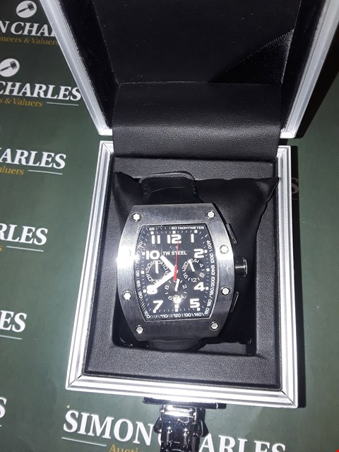 Lot 7 BOXED TW STEEL WATCH WITH LEATHER STRAP