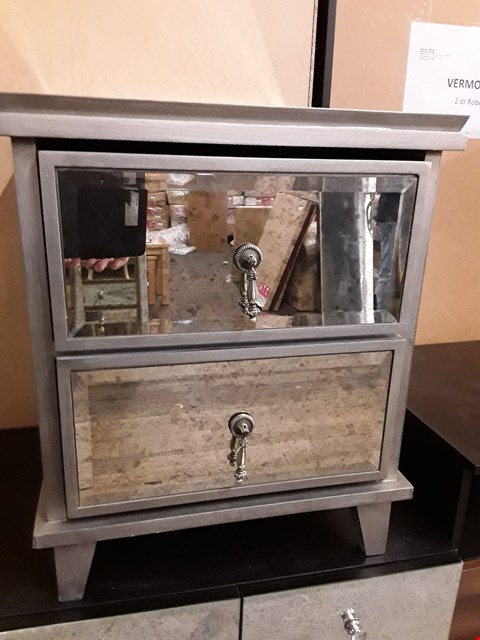 Lot 230 DESIGNER EASTERN PALACE  DISTRESSED MIRRORED 2  DRAWER BEDSIDE CHEST