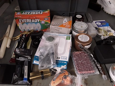 Lot 37 BOX OF APPROXIMATELY 46 ASSORTED ITEMS TO INCLUDE LIGHT BULBS, CANDLES, CORKSCREW ETC