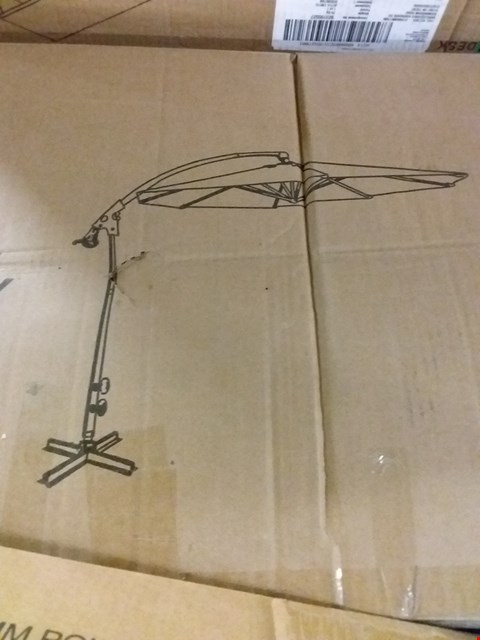 Lot 17360 BOXED 3M DELUXE PEDAL OPERATED ROTATIONAL CANTILEVER PARASOL WITH CROSS STAND - GREY