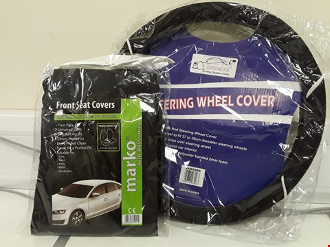 Lot 94 TWO ITEMS UNIVERSAL STEERING WHEEL COVER 37/39cm & UNIVERSAL FRONT SEAT COVERS BLACK