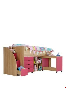 Lot 17445 BOXED MILO OAK/PINK MID SLEEPER WITH STORAGE STEP (BOX 2 OF 3 ONLY) (1 BOX ONLY) RRP £279.00