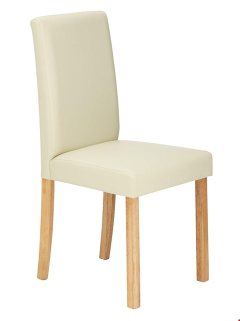 Lot 3594 BOXED SET OF 4 NEW PRIMO CREAM/WALNUT DINING CHAIRS