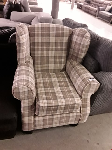 Lot 369 DESIGNER BEIGE TARTAN WING BACK ARMCHAIR