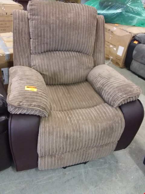 Lot 145 DESIGNER POSTANA BROWN LEATHER & FABRIC POWER RECLINING EASY CHAIR RRP £399.99