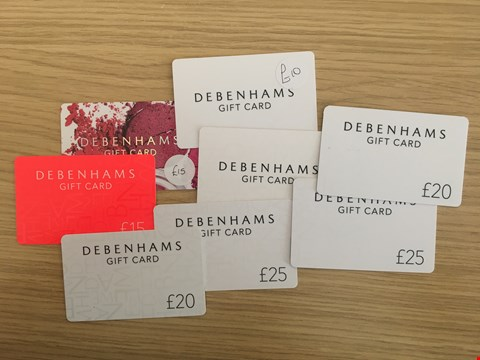 Lot 32 8 DEBENHAMS GIFT CARDS.  TOTAL VALUE £155