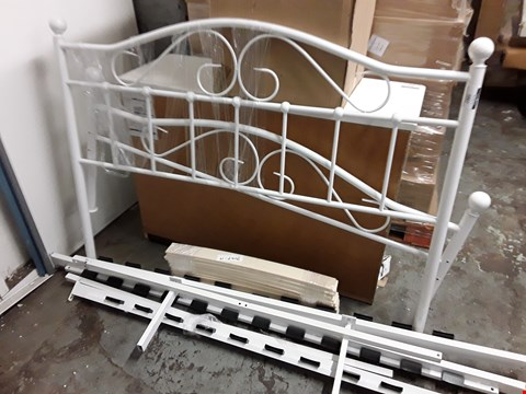 Lot 2007 WHITE METAL DOUBLE BED FRAME PARTS INCLUDES HEAD AND FOOT BOARDS, SIDERAILS AND SLATS