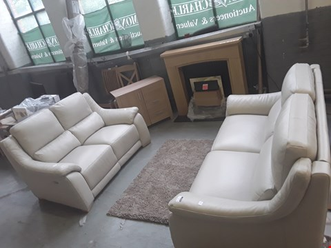 Lot 1 PAIR OF QUALITY DESIGNER ITALIAN DEGANO SAND LEATHER SOFAS, COMPRISING POWER RECLINING TWO-SEATER SOFA AND FIXED FRAME THREE-SEATER SOFA