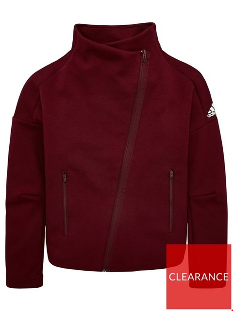 Lot 1161 BRAND NEW ADIDAS YOUTH ID ASYMMETRIC ZIP COVER UP - MAROON/WHITE SIZE 4-5 YEARS