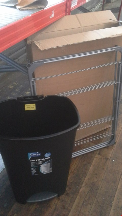 Lot 477 A LOT OF 2 ITEMS TO INCLUDE ADDIS 50L PEDAL BIN BLACK AND CLOTHES AIRER.  RRP £40