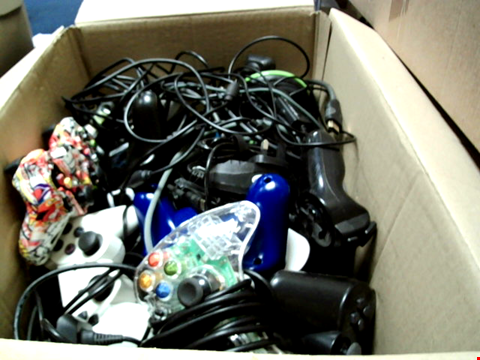 Lot 15654 BOX OF ASSORTED GAMES CONTROLLERS AND CABLES ETC