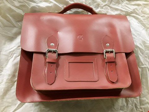 Lot 7210 RED LEATHER SATCHEL WITH SILVER FASTENINGS - DESIGNED IN ENGLAND - WITH DUST BAG
