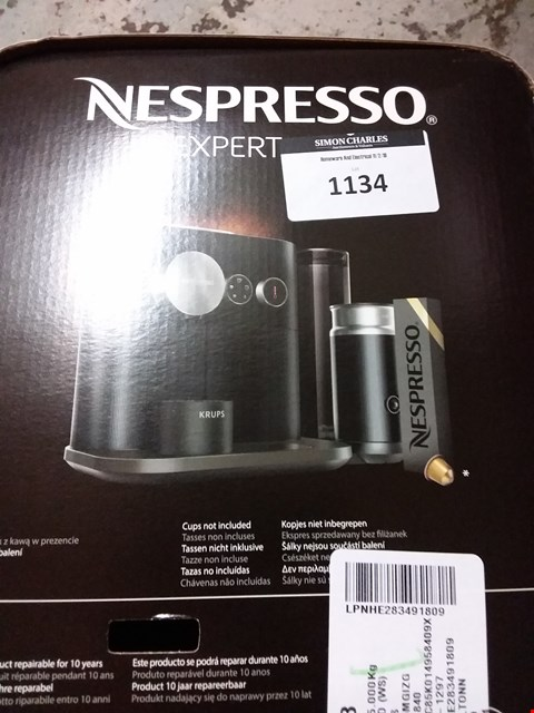 Lot 1134 KRUPS NESPRESSO EXPERT & MILK COFFEE MACHINE