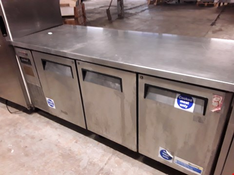 Lot 9058 COMMERCIAL STAINLESS STEEL TURBO AIR 3 DOOR COUNTER FRIDGE