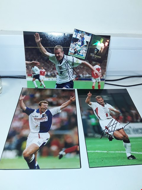 Lot 30 ALAN SHEARER 2 AUTOGRAPHED PHOTOS + PHOTO AND TRADING CARDS