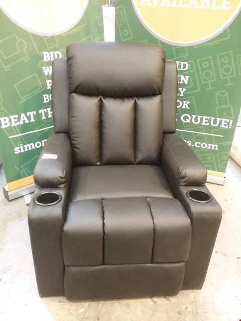 Lot 53 DESIGNER BROWN LEATHER RECLINING ARM CHAIR