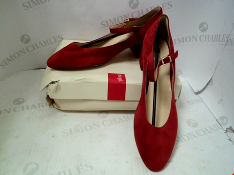 Lot 55 BOXED PAIR OF DESIGNER HOGL RED SUEDE MARY JANE - UK SIZE 9.5