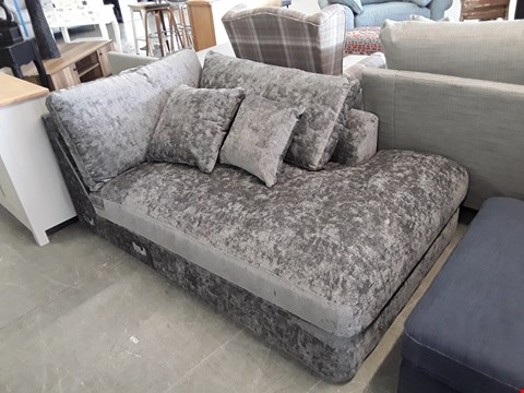 Lot 49 QUALITY BRITISH DESIGNER GREY VELOUR EFFECT SOFA SECTION