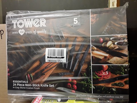 Lot 21 TOWER 24 PIECE STONE COATED KNIFE SET  ( GRADE 1 ) . RRP £90.00