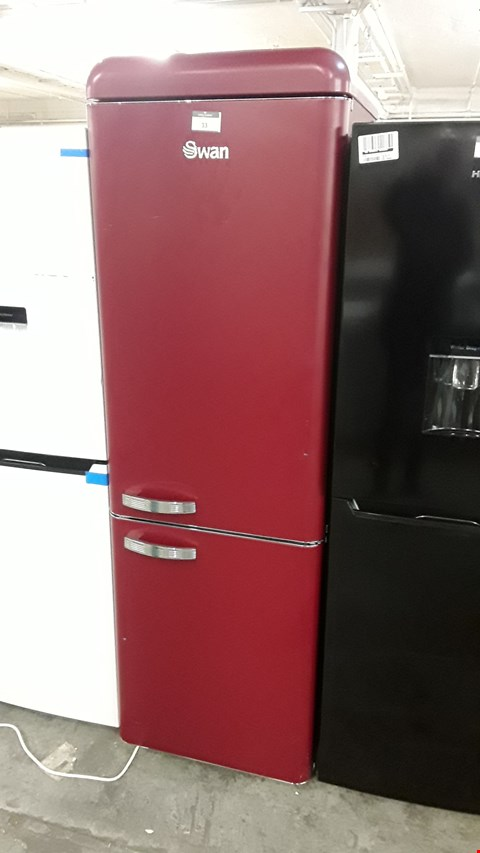 Lot 191 SWAN SR11020WR DEEP RED RETRO STYLE FRIDGE FREEZER  RRP £689