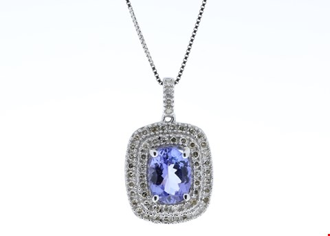 Lot 13 14ct WHITE GOLD OVAL TANZANITE AND DIAMOND CLUSTER PENDANT 0.28ct  RRP £2955