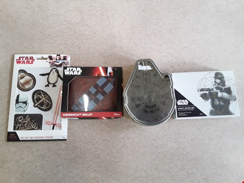 Lot 111 LOT OF 4 BRAND NEW STAR WARS ITEMS TO INCLUDE A CHEWBACCA WALLET, A MILLENIUM FALCON PUZZLE, A STICKY NOTE SET AND THE LAST JEDI ACCESSORY STICKERS