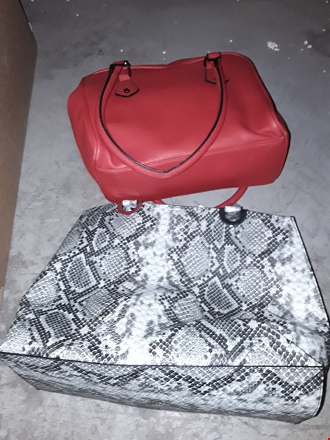 Lot 331 BOX OF APPROXIMATELY 11 ASSORTED HANDBAGS TO INCLUDE SNAKE SHOPPER AND RED BOWLER BAG