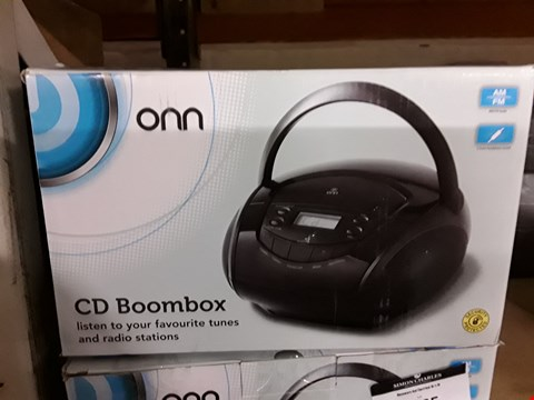 Lot 1186 BOXED ONN CD AM/FM RADIO BOOMBOX IN BLACK  RRP £12