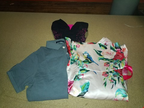Lot 299 LOT OF APPROXIMATELY 10 ASSORTED DESIGNER CLOTHING ITEMS TO INCLUDE VINTAGE DESTROY PIQUE POLO, SPEEDO SCULPTURE SHINEDREAM AND FLORENCIA PRINT DRESS (BOX NOT INCLUDED)