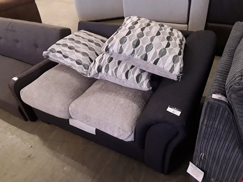 Lot 37 DESIGNER NAVY AND SILVER FABRIC SOFA SECTION