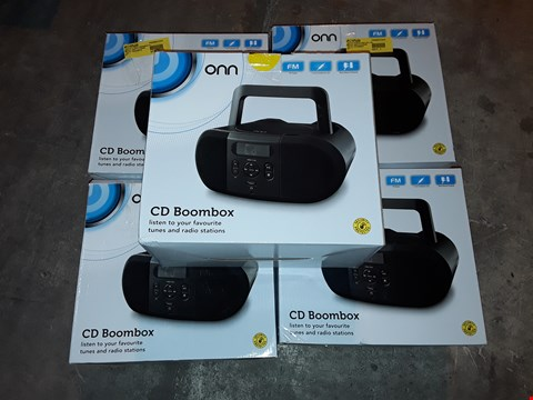 Lot 4562 LOT OF 5 BOXED ONN CD BOOMBOXES