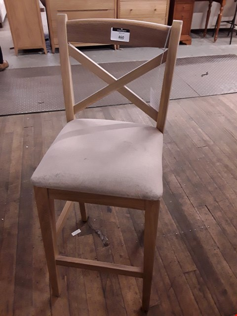 Lot 460 DESIGNER WOODEN BARSTOOL WITH NATURAL FABRIC SEAT