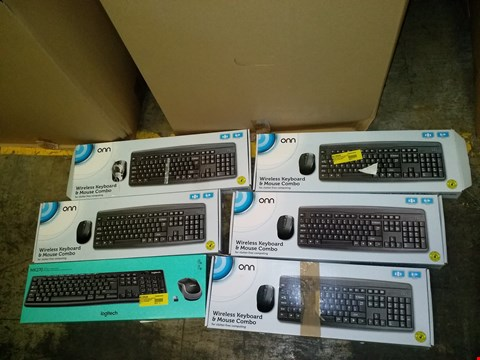 Lot 9009 LOT OF 6 KEYBOARDS TO INCLUDE 5X ONN WIRELESS KEYBOARDS AND 1X LOGITECH MK270 WIRELESS COMBO SET