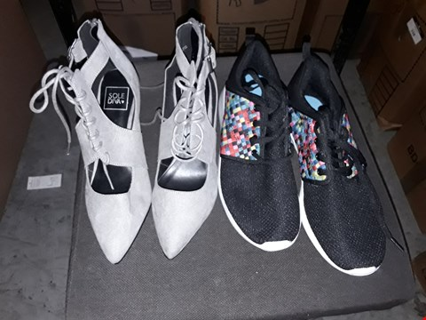 Lot 356 BOX OF APPROXIMATELY 15 ASSORTED SHOES TO INCLUDE GREAT SHOE BOOT HEELS AND BLACK/MULTICOLOURED TRAINERS