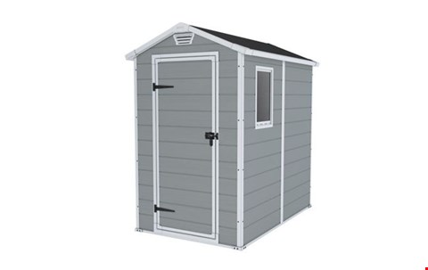 Lot 7063 BOXED GRADE 1 KETER 4X6 APEX MANOR RESIN SHED RRP £419.99