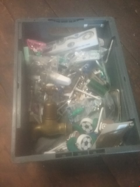 Lot 5528 BOX OF ASSORTED ITEMS TO INCLUDE VARIOUS GOLF TEE PEGS, BRASS COLD TAP, ELECTRONIC BOOKMARK
