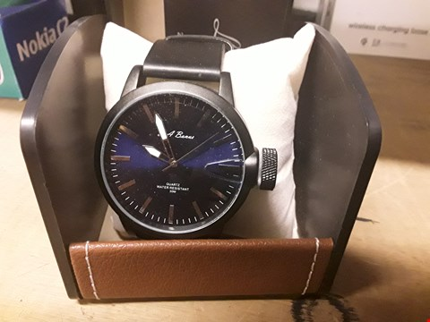 Lot 51 BRAND NEW BOXED L A BARNED WRIST WATCH ON BLACK LEATHER STRAP