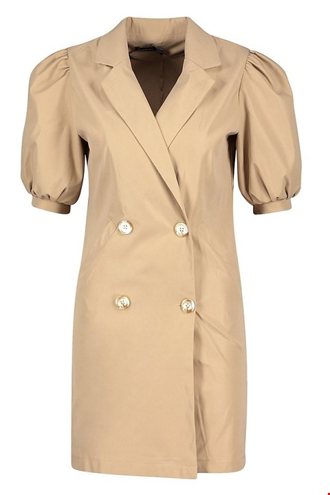Lot 7272 BRAND NEW BOOHOO PUFF SLEEVE TAUPE BLAZER DRESS - SIZE 10 UK