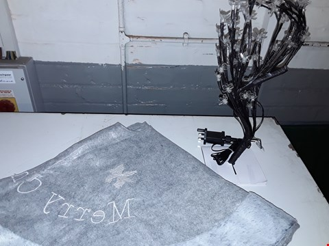 Lot 1163 LOT OF 2 ASSORTED ITEMS TO INCLUDE 45CM PRE LIT BLOSSOM TREE, GREY FAUX FUR TREE SKIRT