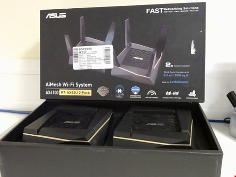 Lot 15264 ASUS RT-AX92U AX6100 WI-FI 6 TRI-BAND WHOLE HOME MESH WI-FI SYSTEM FOR LARGE & MULTI-STORY HOMES, FLEXIBLE SSID SETTING, WIRED INTER-ROUTER CONNECTIONS, AIPROTECTION, TREND MICRO SECURITY, PACK OF 2