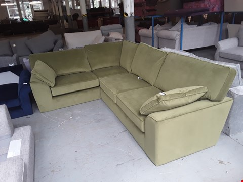 Lot 38 QUALITY BRITISH DESIGNER OLIVE GREEN PLUSH VELVET STAMFORD LEFT HAND CORNER SOFA