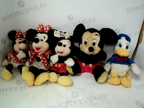 Lot 3137 LOT OF 5 VINTAGE DISNEY PLUSH TOYS: MICKEY & MINNIE MOUSE, DONALD DUCK