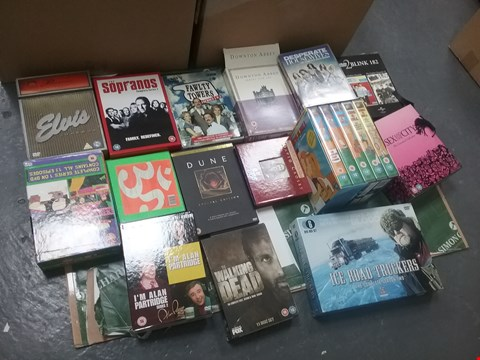 Lot 12019 A BOX OF APPROXIMATELY 25 ASSORTED DVD/BOXSETS TO INCLUDE THE SOPRANOS COMPLETE SERIES 2 AND A WALKING DEAD DVD