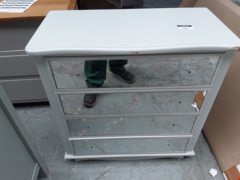 Lot 398 3 DRAWER MIRRORED CHEST OF DRAWERS - WHITE - DAMAGED