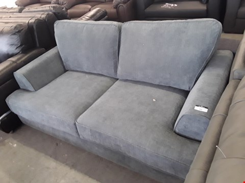 Lot 62 DESIGNER GREY/GREEN FABRIC 3 SEATER SOFA