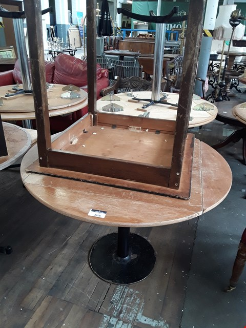 Lot 5021 TWO CATERING DINING TABLES, WOODEN CIRCULAR & SQUARE TO ROUND DROP LEAF ON METAL PEDESTAL